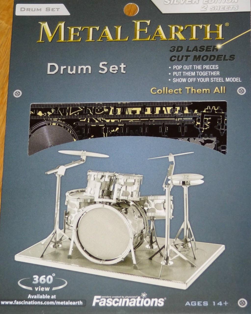 3D Steel Cut Model NEW Fascinations Metal Earth Musical Drum Set