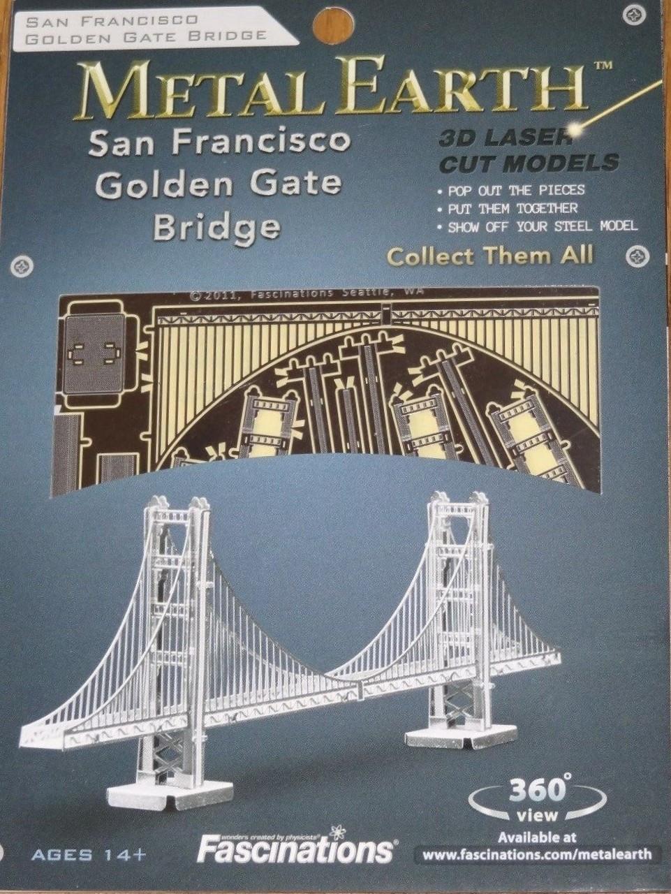 Fascinations Metal Earth 3D Laser Cut Steel Model Kit GOLD Golden Gate Bridge
