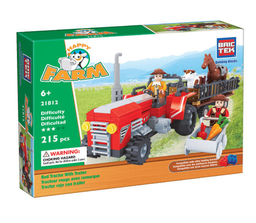Red Tractor with Trailer BricTek