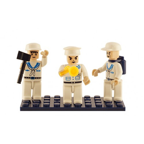 Navy Set of 3 Mini Figures BricTek