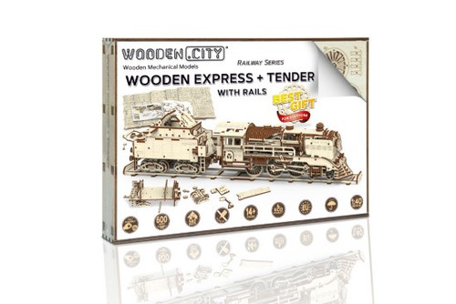 Wooden Express Train + Tender + Rails Wooden City