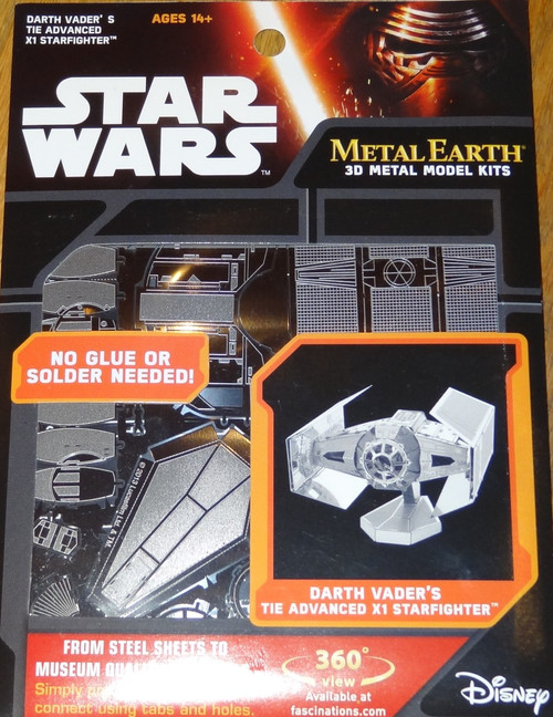 Darth Vader's Tie Advenced X1 Starfighter Star Wars Metal Earth