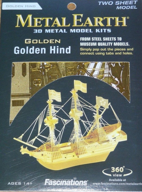 Golden Hind in Gold Ship Metal Earth