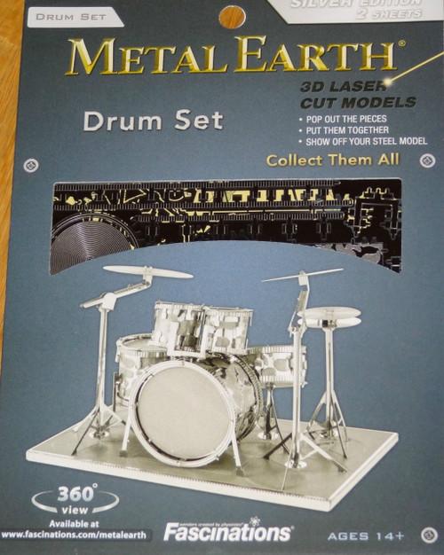 Drums Set Metal Earth 3D Laser Cut Instrument Miniature Model Kit 2 sheets
