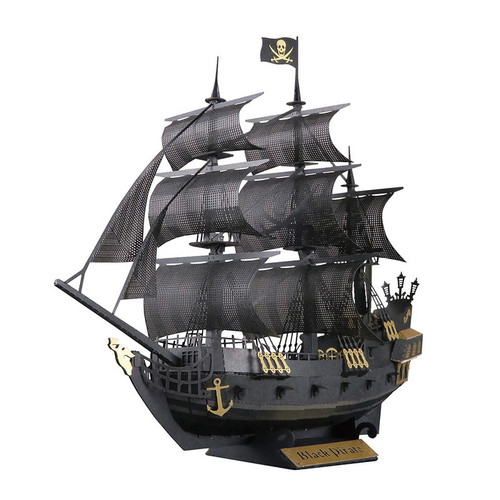 Black Pirate Ship Paper Nano