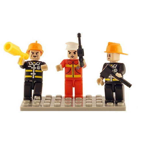 Fire Brigade Set of 3 Mini Figures BricTek