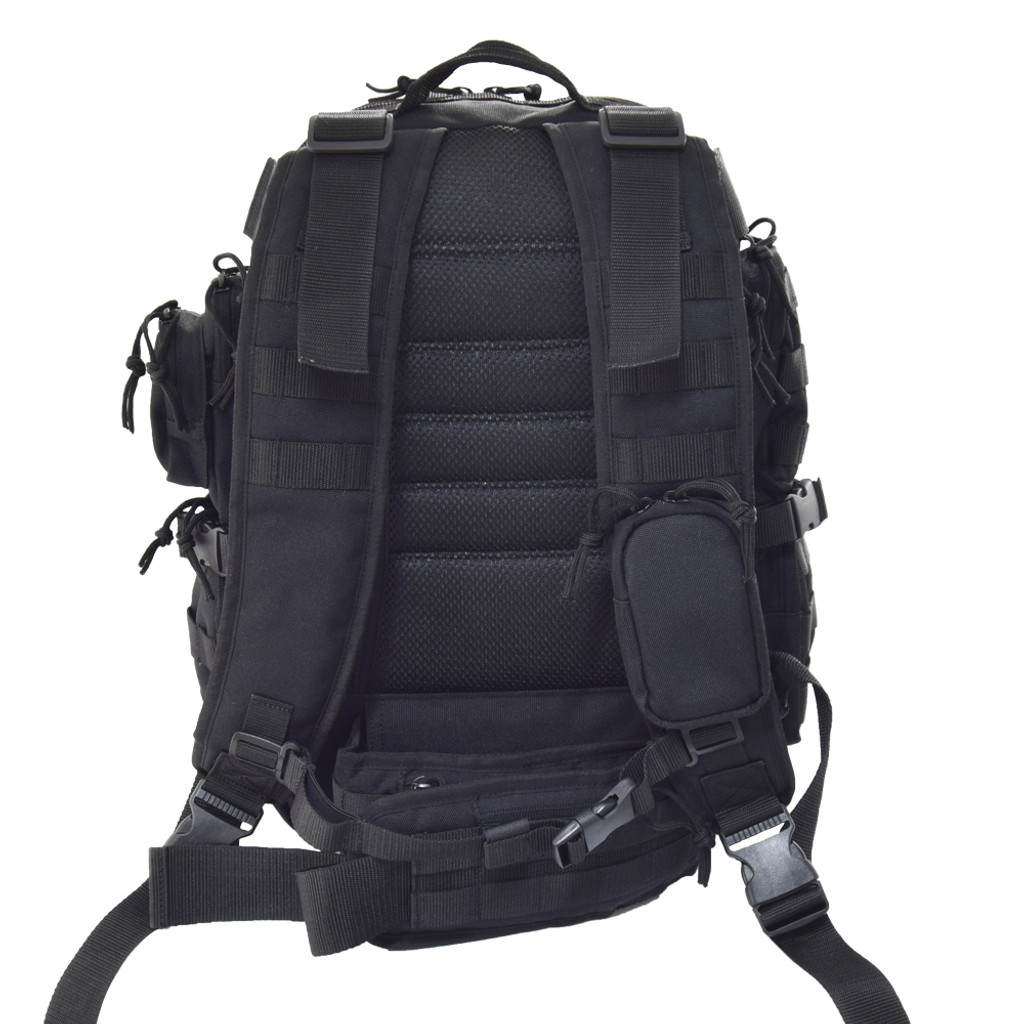 Padded back and backpack straps with mesh lining for comfort.  Small zippered pouch on one backpack strap & sternum strap.