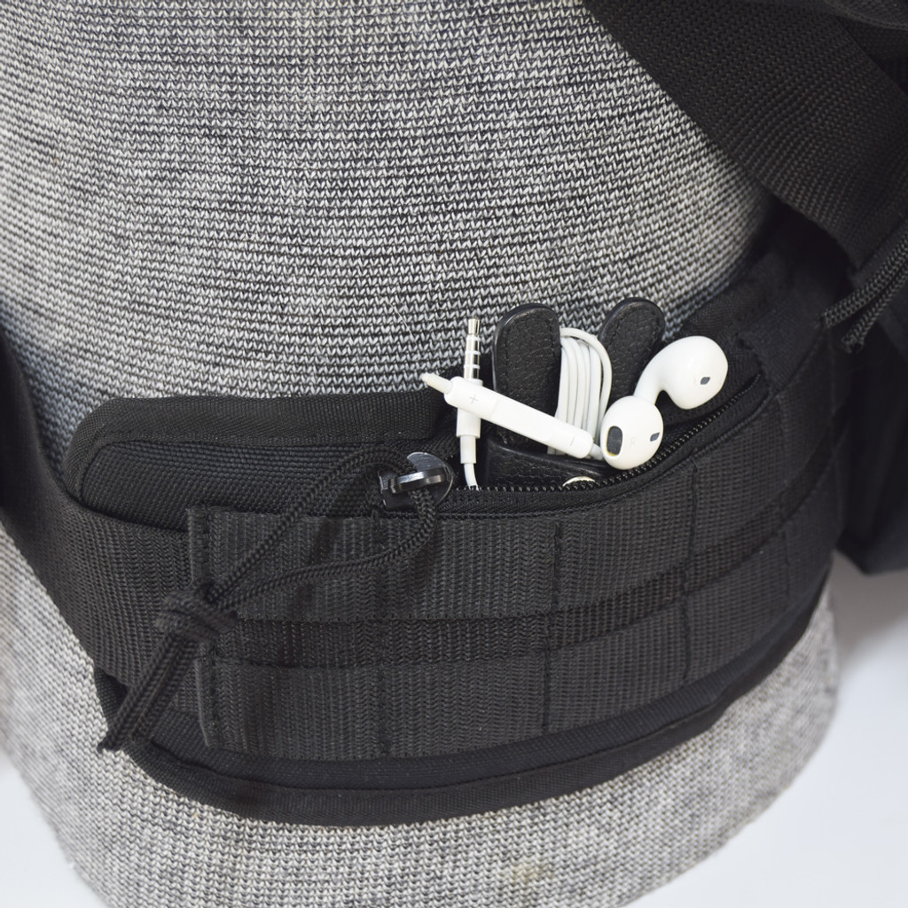 Padded, heavy duty, removable waist strap with two small zipper pockets for keys, wallet, and mobile phone, etc.