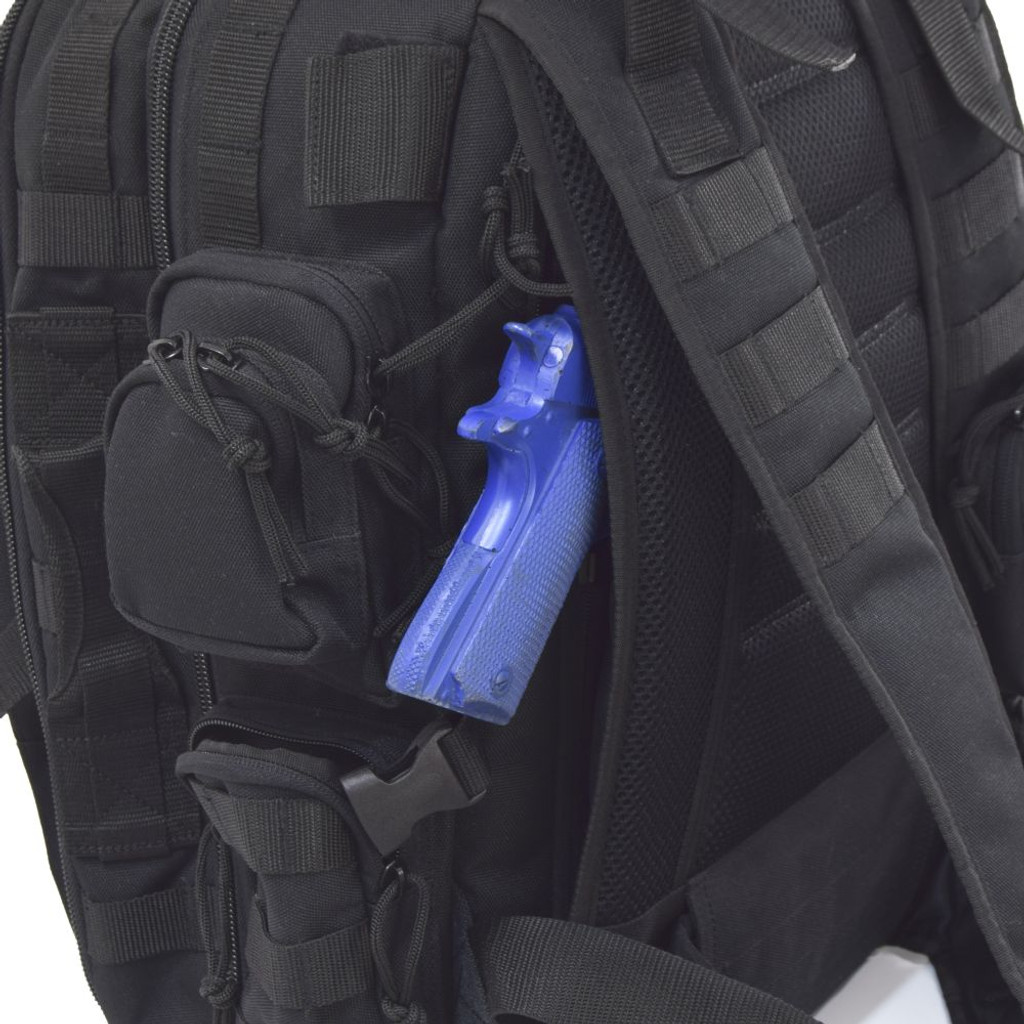 """Hidden """"pass through"""" backside pocket with zippers on both sides can be used as a secure conceal carry compartment"""