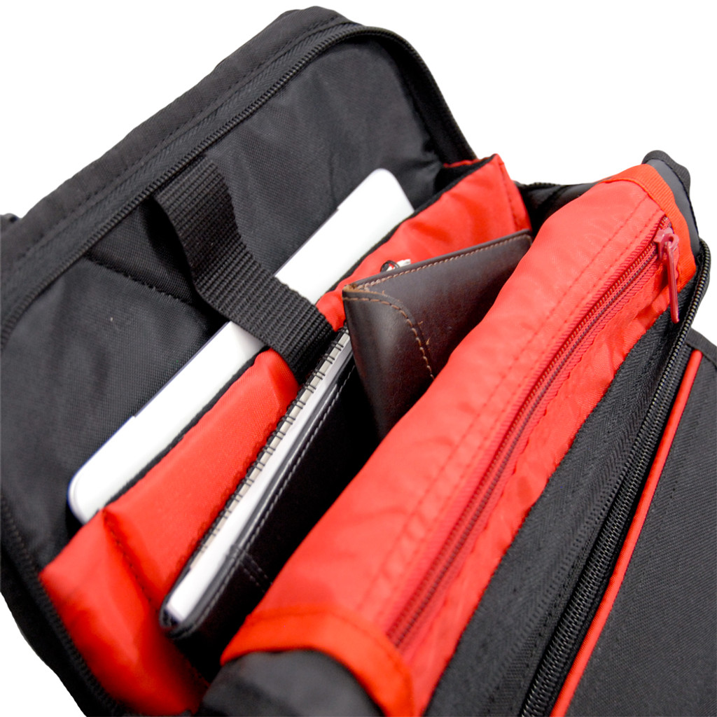 Padded microfiber lined pocket protects fragile tablets & readers