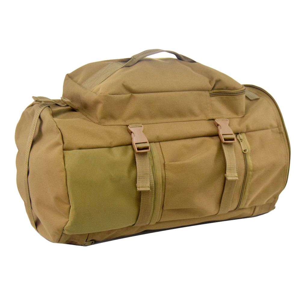 Compression straps on sides and bottom.  Bottom strap can be used to carry items like a rolled jacket or sleeping bag.