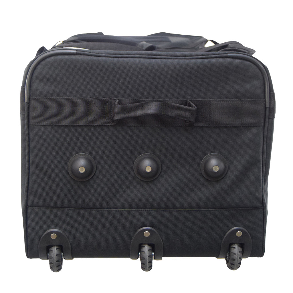 Three rolling wheels for weight distribution & three feet provide stability when bag is upright