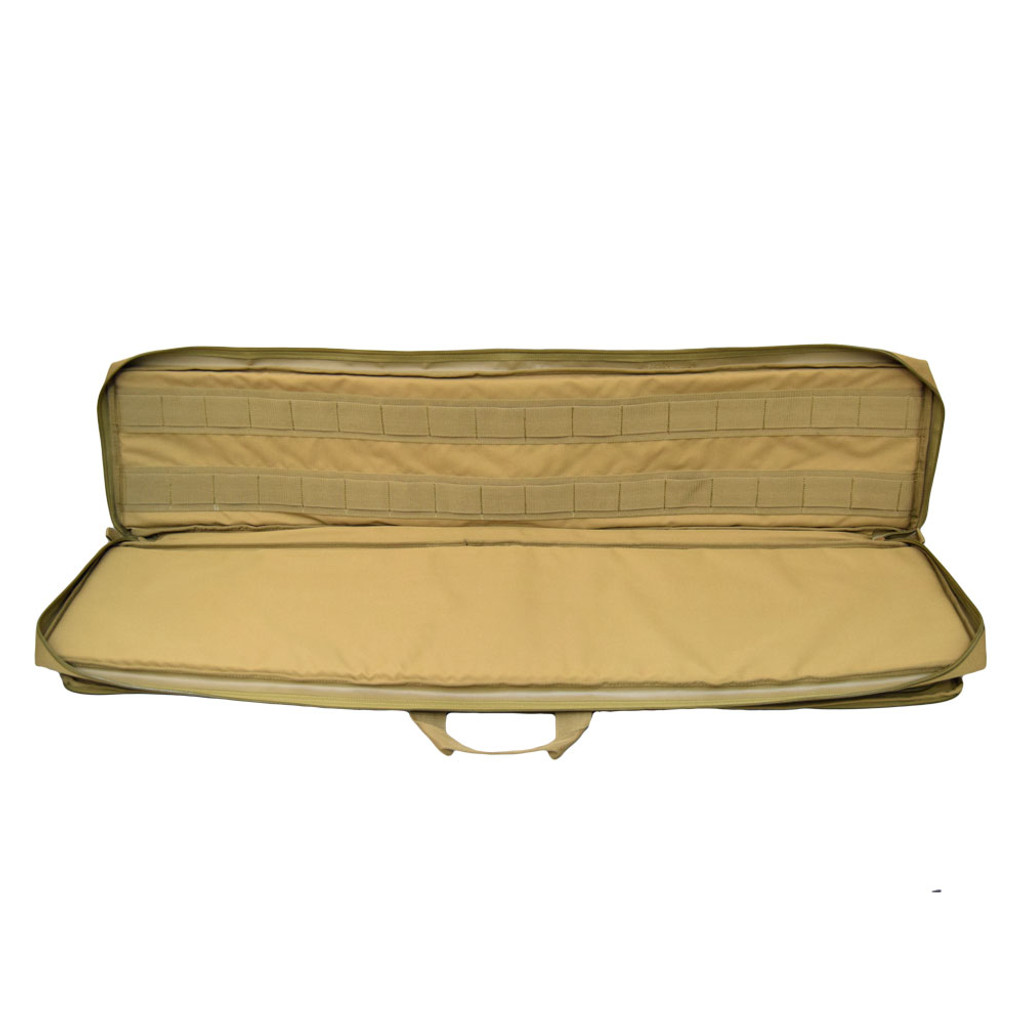 Lightweight semi-rigid case with thick padding on both sides of the weapon compartment for superior protection