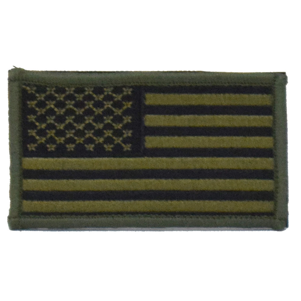 American Flag Patch - Olive & Black