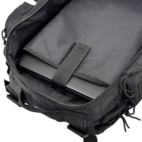 Padded laptop compartment can accommodate laptops up to 15""