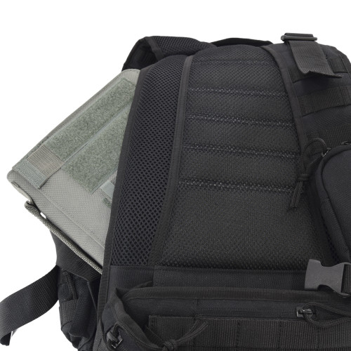 """Hidden """"pass through"""" backside pocket can accommodate tablets (shown here with our Tactical iPad Cover)"""