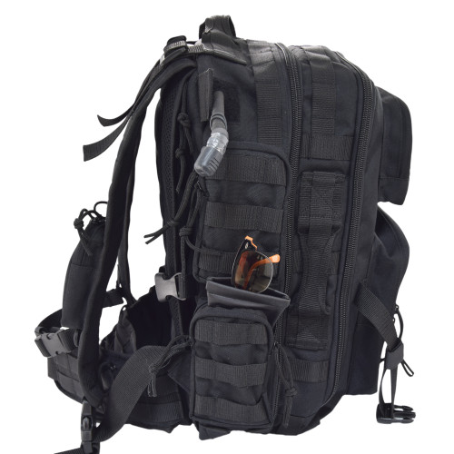 MOLLE webbing on front, sides, top, bottom, backpack straps, belt, and inside center pocket to clip on extras and add pouches