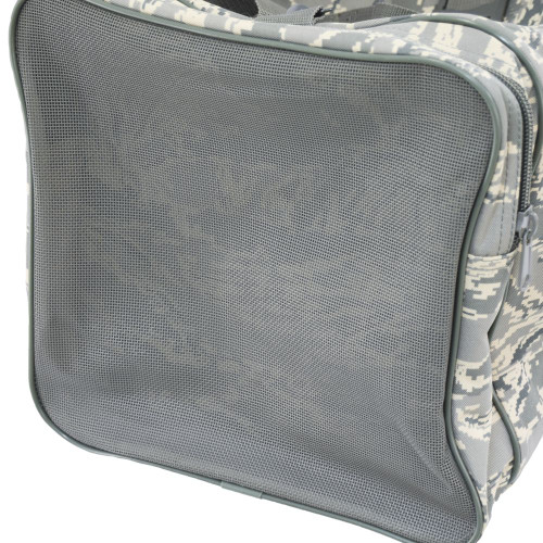 Mesh side pocket for damp items