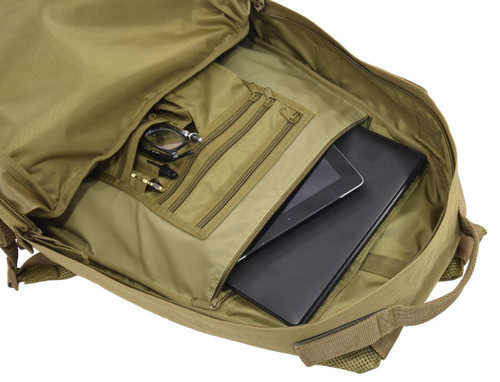 "Large zippered pocket with divider in organizer panel measures 12""w x 15""h and can hold a tablet and laptop"