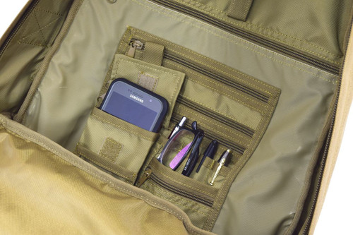 Organizer panel with multiple pockets for smaller items and pen slots