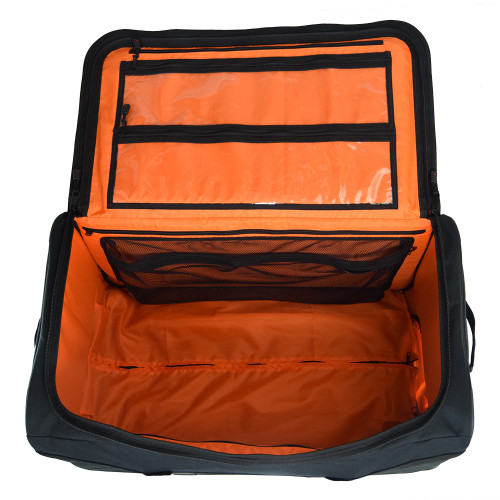 Large capacity, zippered lid for full access inside, & high visibility orange interior to quickly find contents