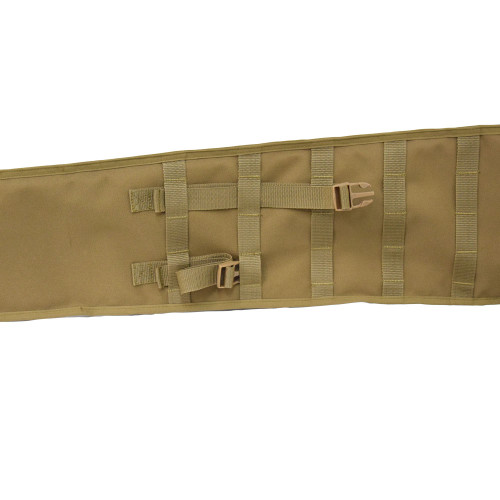 Adjust to size with buckles pulled through MOLLE webbing