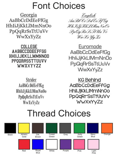 Select Font & Thread Choices