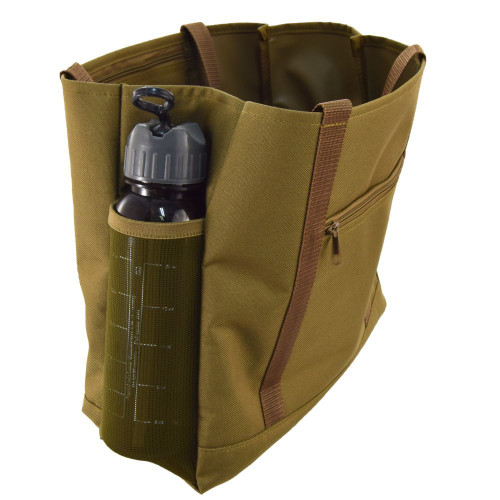 Two side mesh water bottle pockets can also be used to carry magazines and newspapers