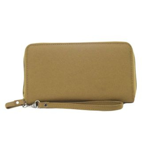 This wrist wallet has a full length bill compartment / slip-in pocket, 8 interior card slots, and a removable wrist strap