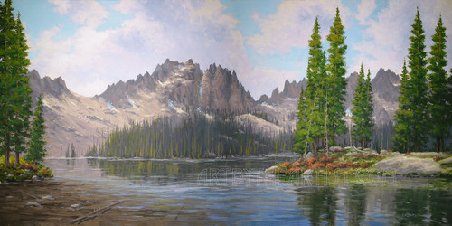 Fred Choate 'Baron Lake' Giclee on Canvas Signed