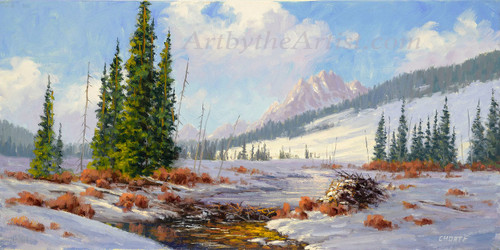 Fred Choate 'Winter Camp' Giclee on Canvas Signed and Numbered
