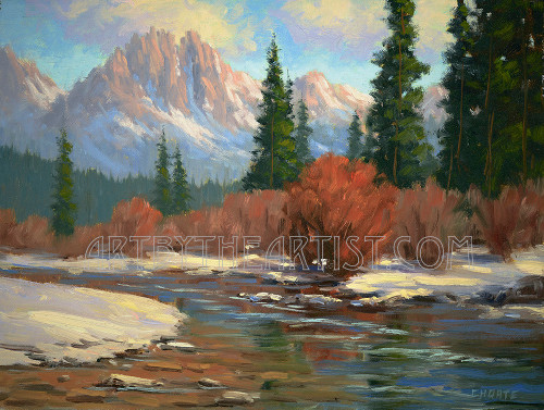 Fred Choate 'Sawtooth Winter' Giclee on Canvas