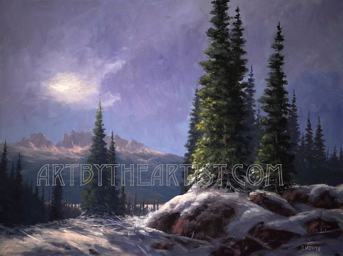 Fred Choate 'Sawtooth Solitude' Giclee on Canvas Signed