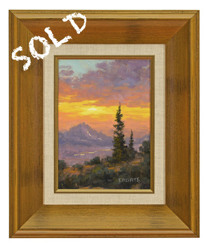 """Fred Choate """"Sawtooth Sunset"""" Original Oil Painting on Canvas"""