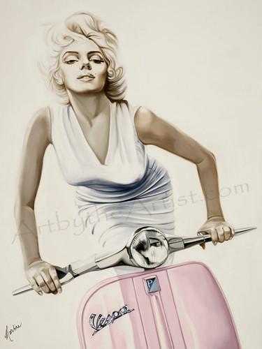 Martine Castoro 'Vespa' Giclee on Canvas
