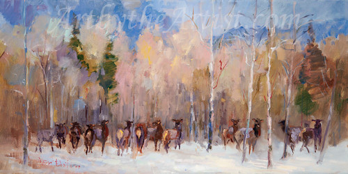 "Mary Butler ""Winter at Elk Meadows"" Canvas Gicleé Signed & Numbered"