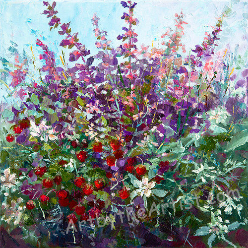 "Nina Borisovich ""Wildflowers and Berries"" Canvas Gicleé Signed & Numbered"
