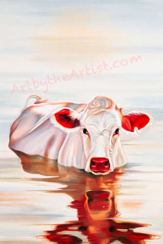 "Martine Castoro ""Moo-arvelous"" Giclee on Canvas"