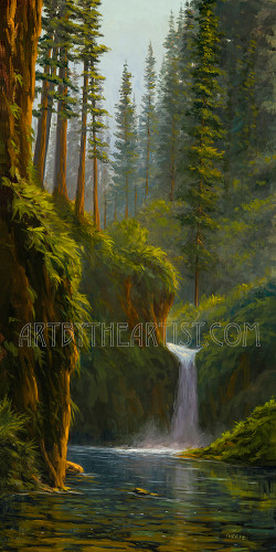 Fred Choate 'Punchbowl Falls' Giclee on Canvas Signed