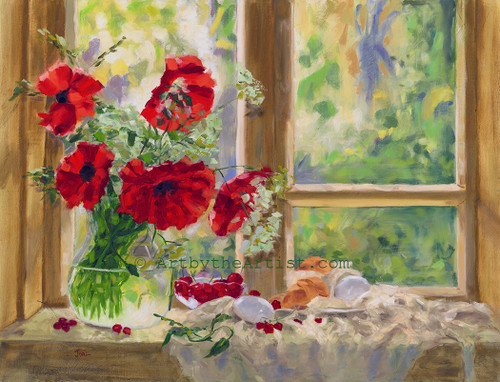 Joal Curtis 'Poppies' Giclee on Canvas