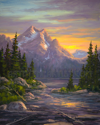 Fred Choate 'Stanley Lake Sunset' Giclee on Canvas Signed