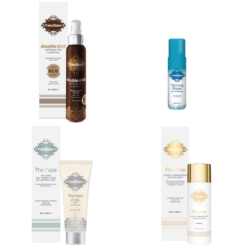 Special Offer: Self-Tanning Kit  What's included: 2 oz Fake Bake Face with Matrixyl-3000 Anti-Aging 5 oz Flawless Coconut Tanning Serum for Face and Body 4 oz Fake Bake Doubleshot Espresso  1.67 oz Fake Bake Tanning Water Sample  Packaged in a clear bag with bow -- Perfect for gifting others, or yourself!!