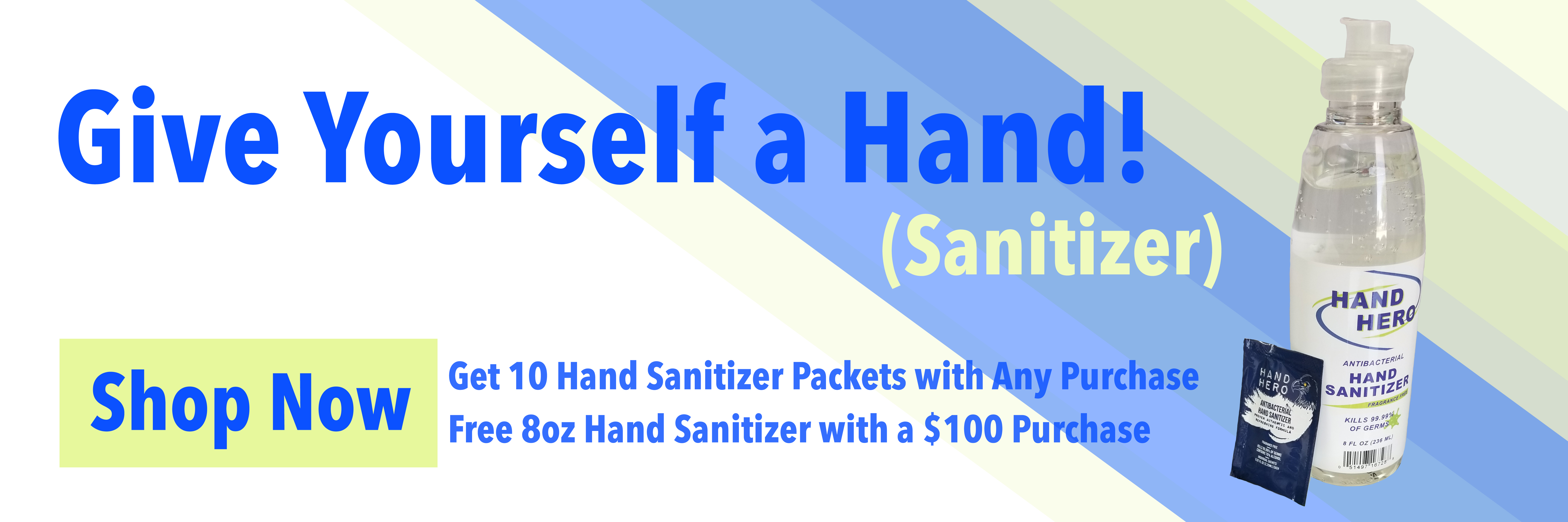 Free hand sanitizer with any purchase