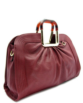 Flora Square Handle  Tote-Burgundy