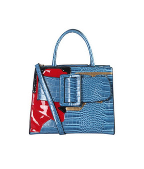 Maxie Buckle Tote- Blue