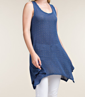 Denim Rhinestone Sleeveless Tunic