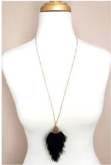 Feathered Long Necklace-Black/Gold
