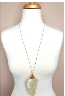 Feathered Long Necklace-Cream/Gold