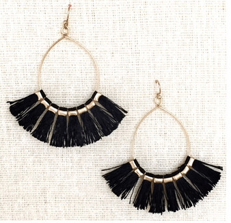 Tasseled  Earrings-Black/Gold