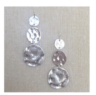 Hammered 3 Tier Drop Earrings-Silver